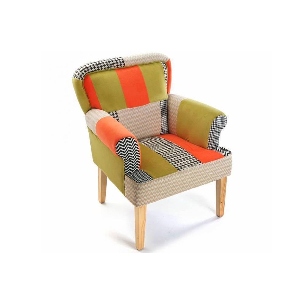 chauffeuses fauteuils et poufs houndstooth fauteuil design patchwork avec accoudoirs inside75. Black Bedroom Furniture Sets. Home Design Ideas