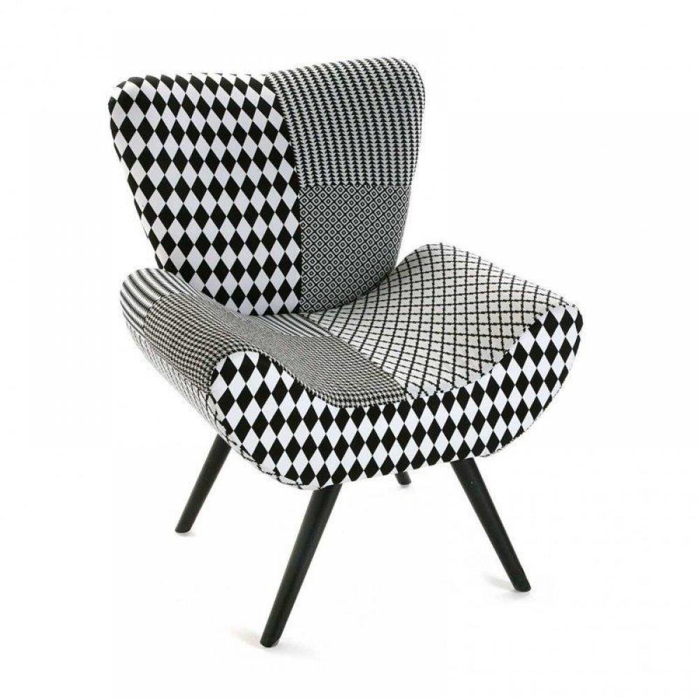 fauteuils et poufs fauteuils et poufs fauteuil astrid motif pied de poule noir blanc inside75. Black Bedroom Furniture Sets. Home Design Ideas