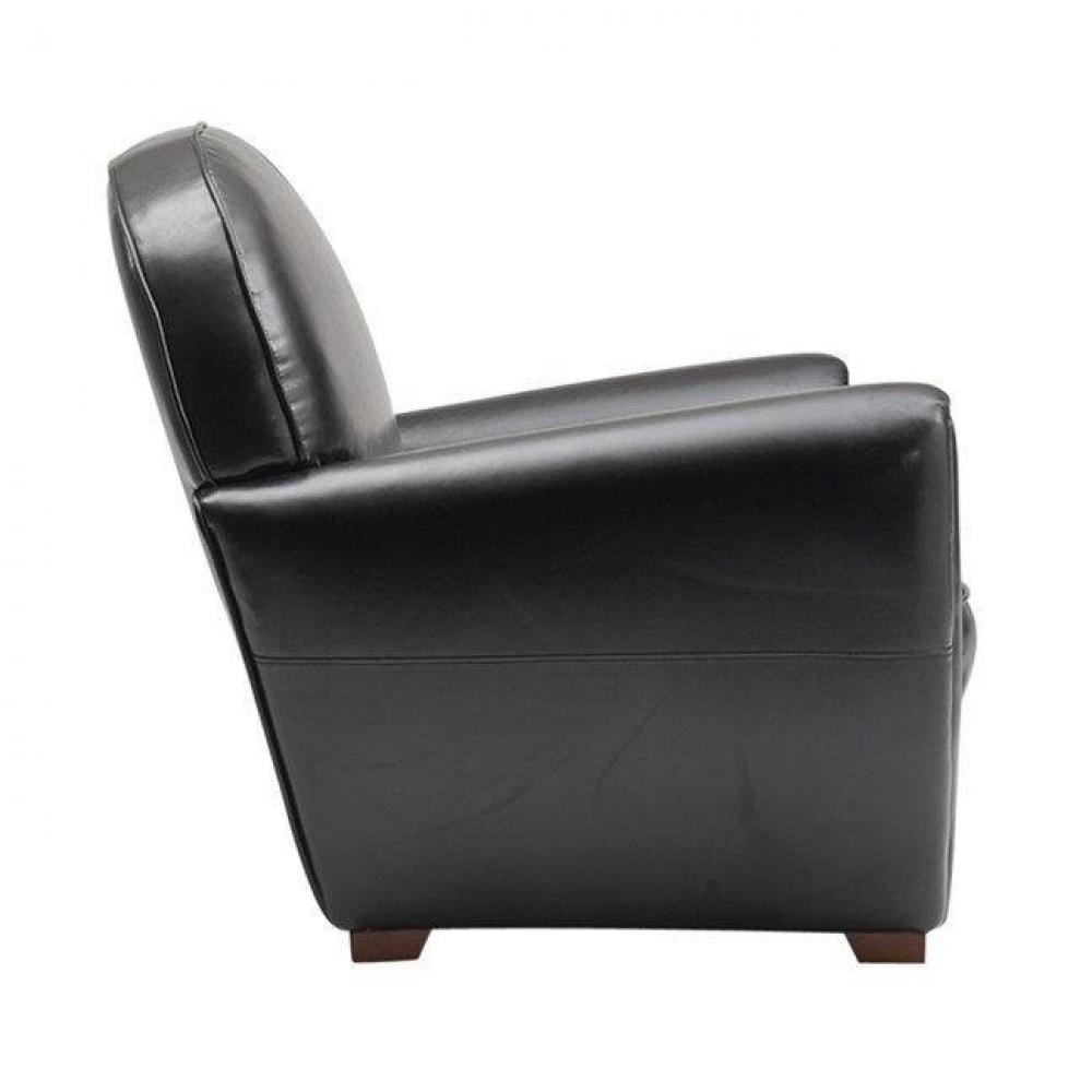 Canap s fixes canap s et convertibles fauteuil club noir brillant en cuir r - Fauteuil club cuir noir ...
