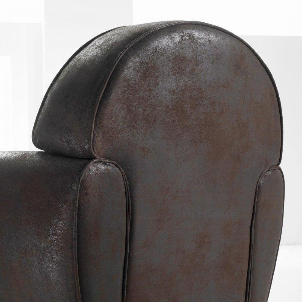 fauteuil club marron vintage microfibre made in italy ebay. Black Bedroom Furniture Sets. Home Design Ideas