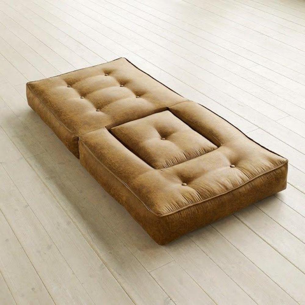 fauteuils futon canap s et convertibles fauteuil cube 3 en 1 futon aspect cuir vintage cognac. Black Bedroom Furniture Sets. Home Design Ideas