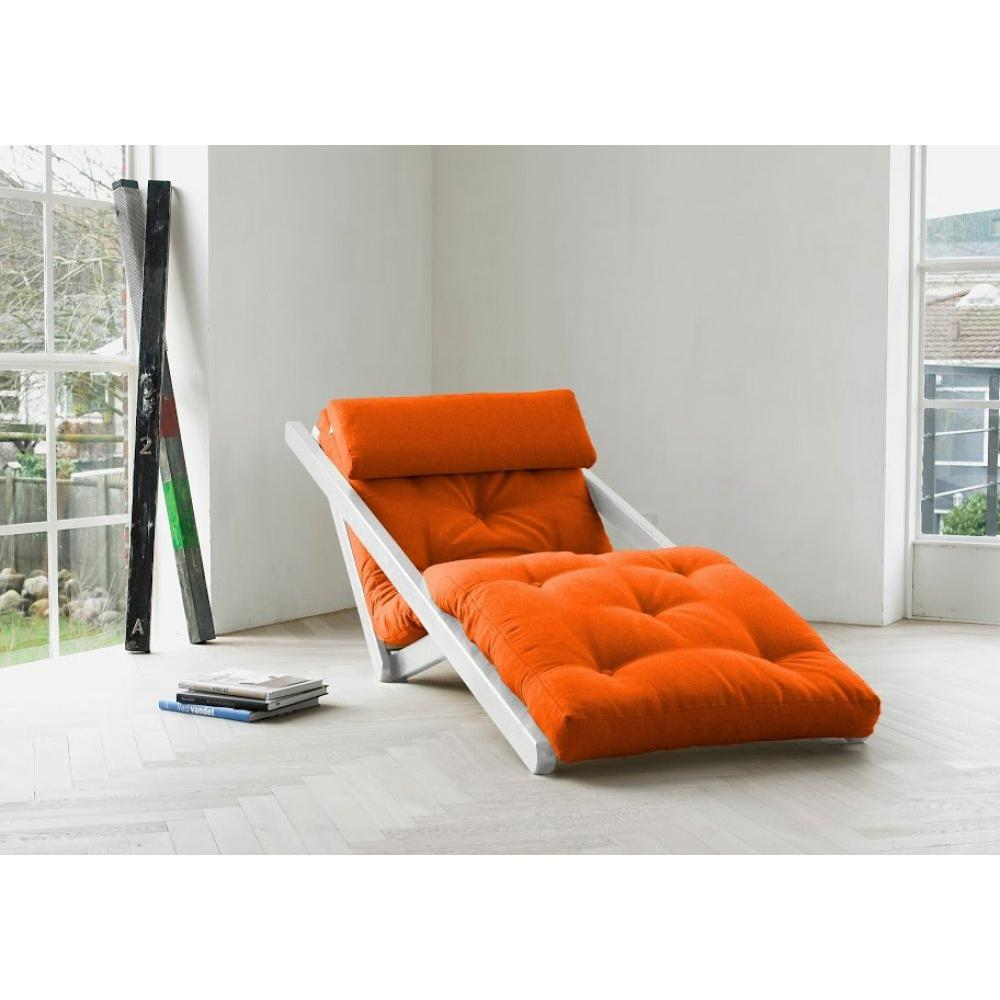 fauteuils et poufs fauteuils et poufs chaise longue convertible blanche figo futon orange. Black Bedroom Furniture Sets. Home Design Ideas