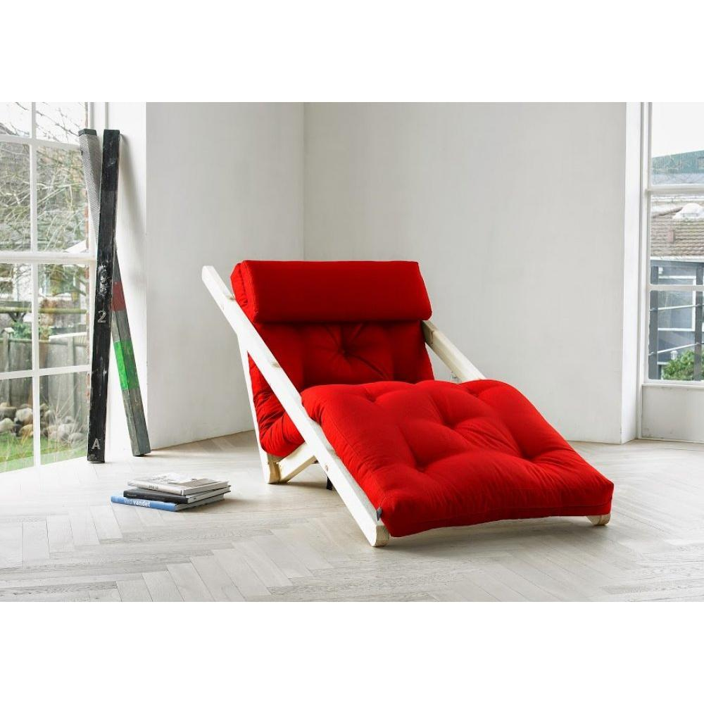 Chaise longue convertible style scandinave FIGO futon rouge couchage