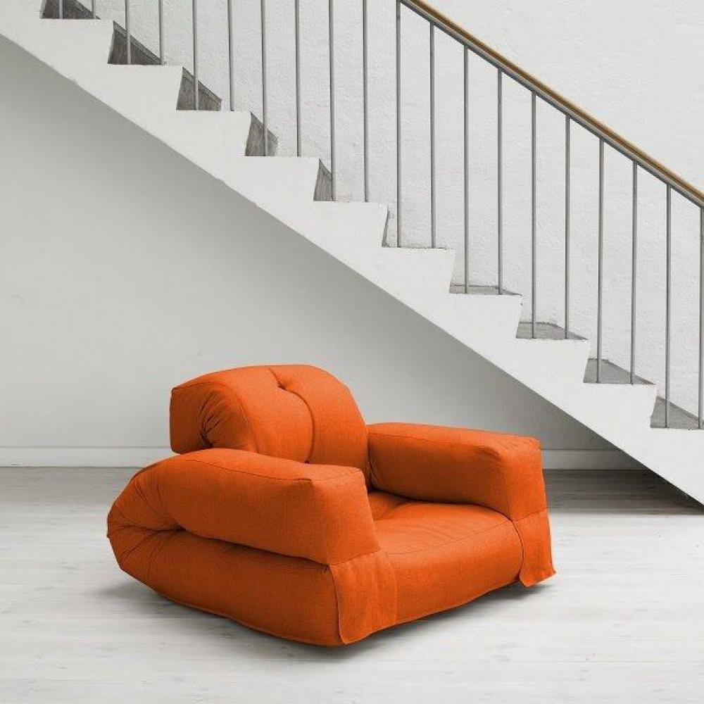 fauteuils futon canap s et convertibles fauteuil lit hippo futon orange couchage 90 200 25cm. Black Bedroom Furniture Sets. Home Design Ideas