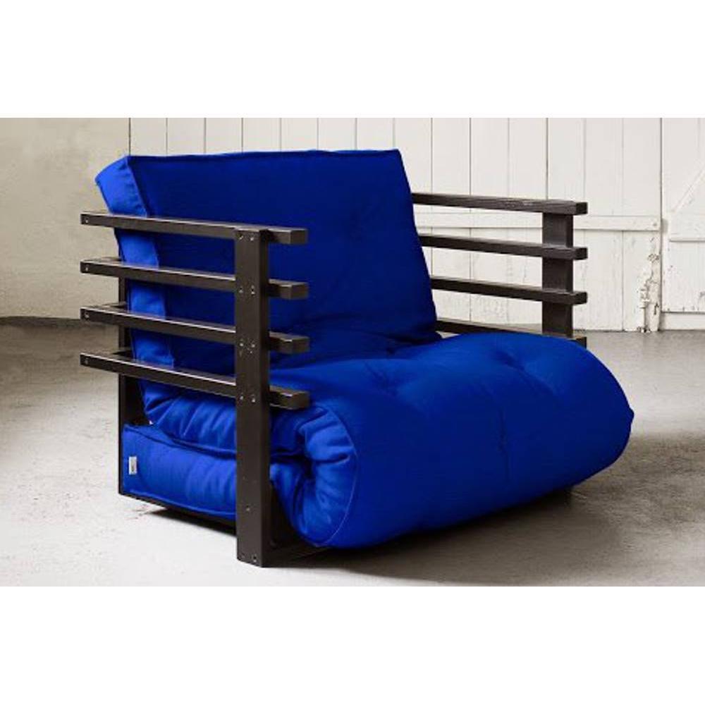 fauteuils et poufs canap s et convertibles fauteuil lit noir funk futon bleu royal couchage 80. Black Bedroom Furniture Sets. Home Design Ideas