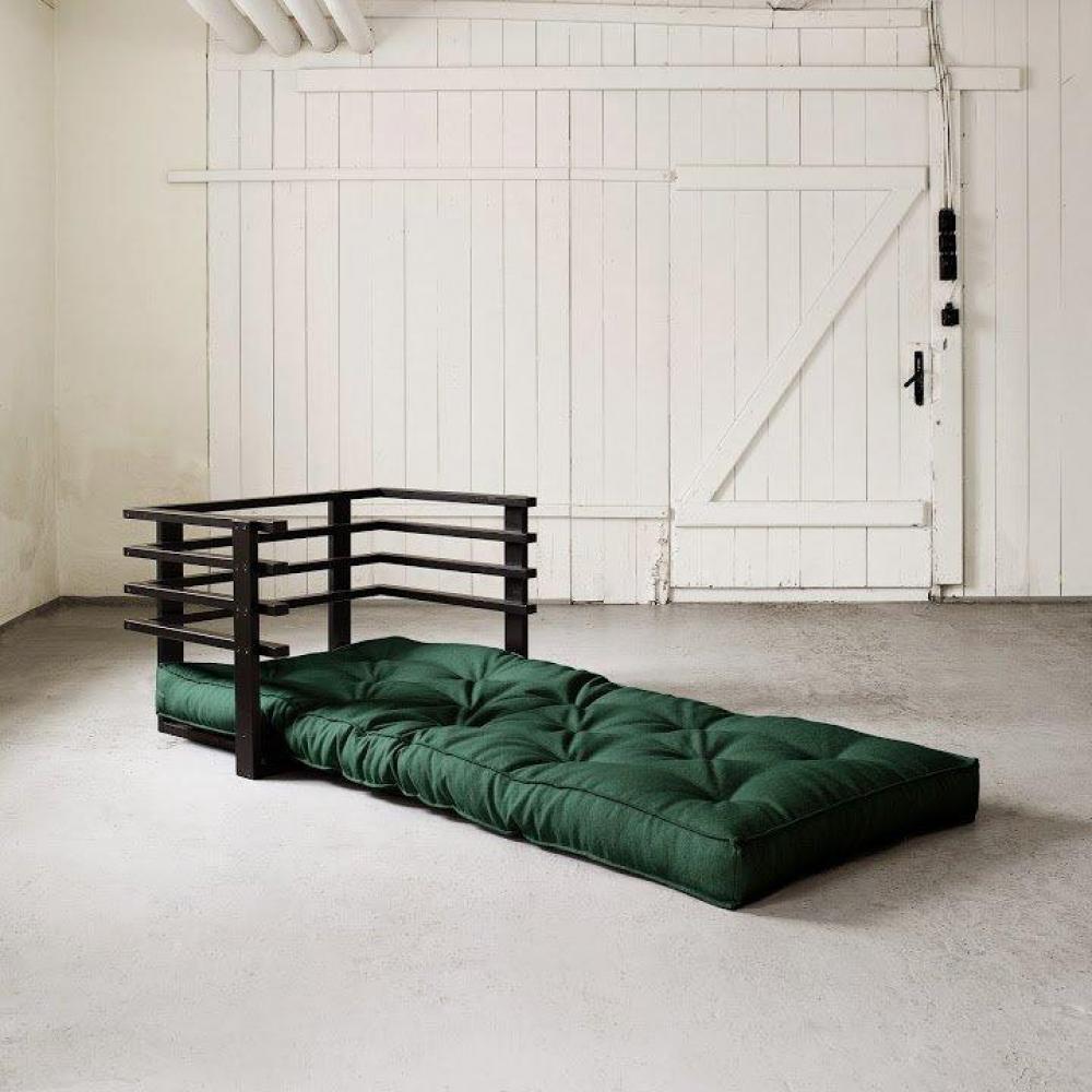 fauteuils et poufs canap s et convertibles fauteuil lit noir funk futon vert couchage 80 190cm. Black Bedroom Furniture Sets. Home Design Ideas