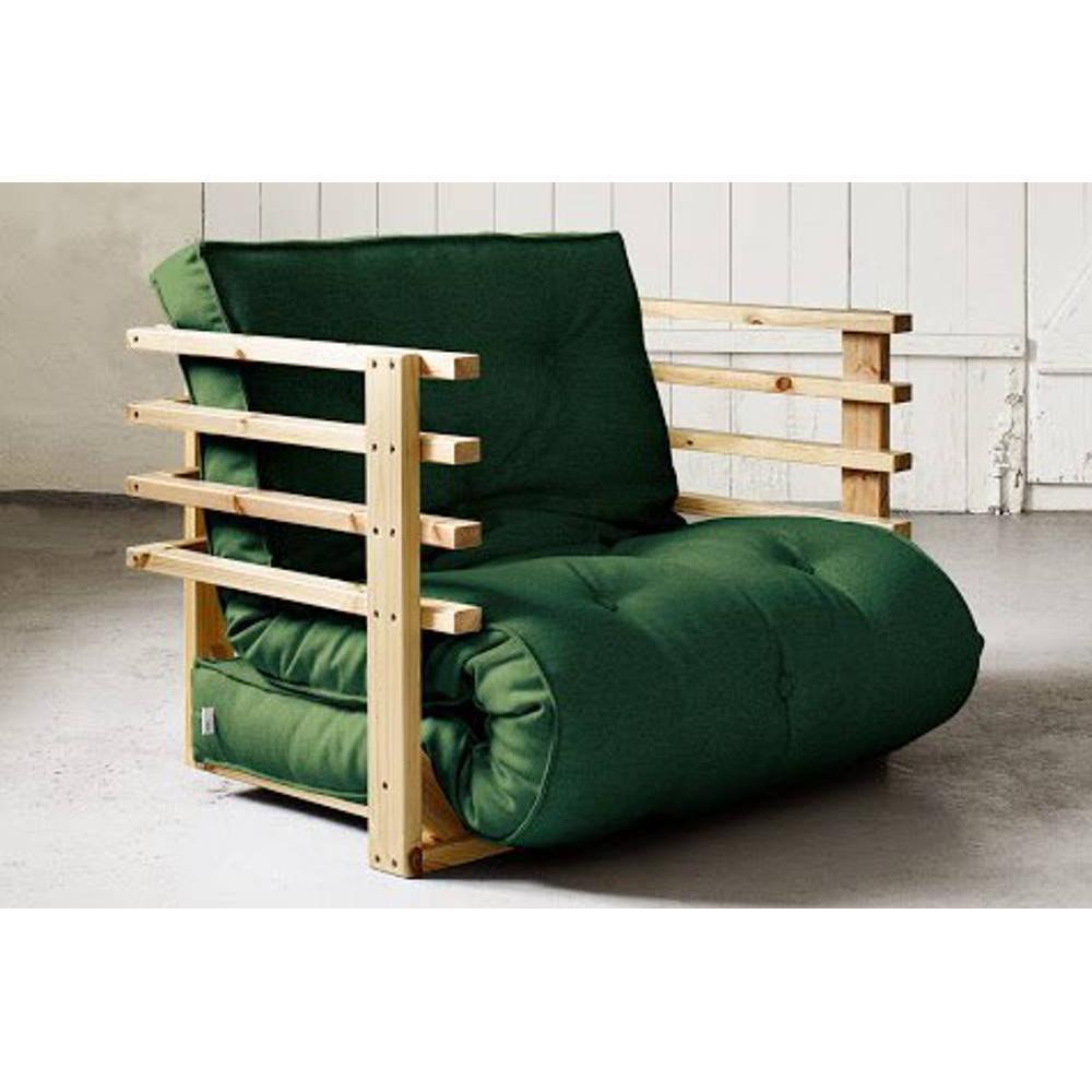 fauteuils et poufs canap s et convertibles fauteuil lit en pin massif funk futon vert couchage. Black Bedroom Furniture Sets. Home Design Ideas