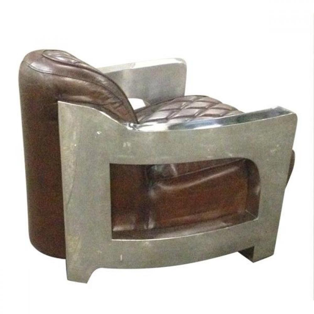 Canap s club canap s et convertibles fauteuil m tal club cuir vintage marro - Fauteuil club cuir et metal ...