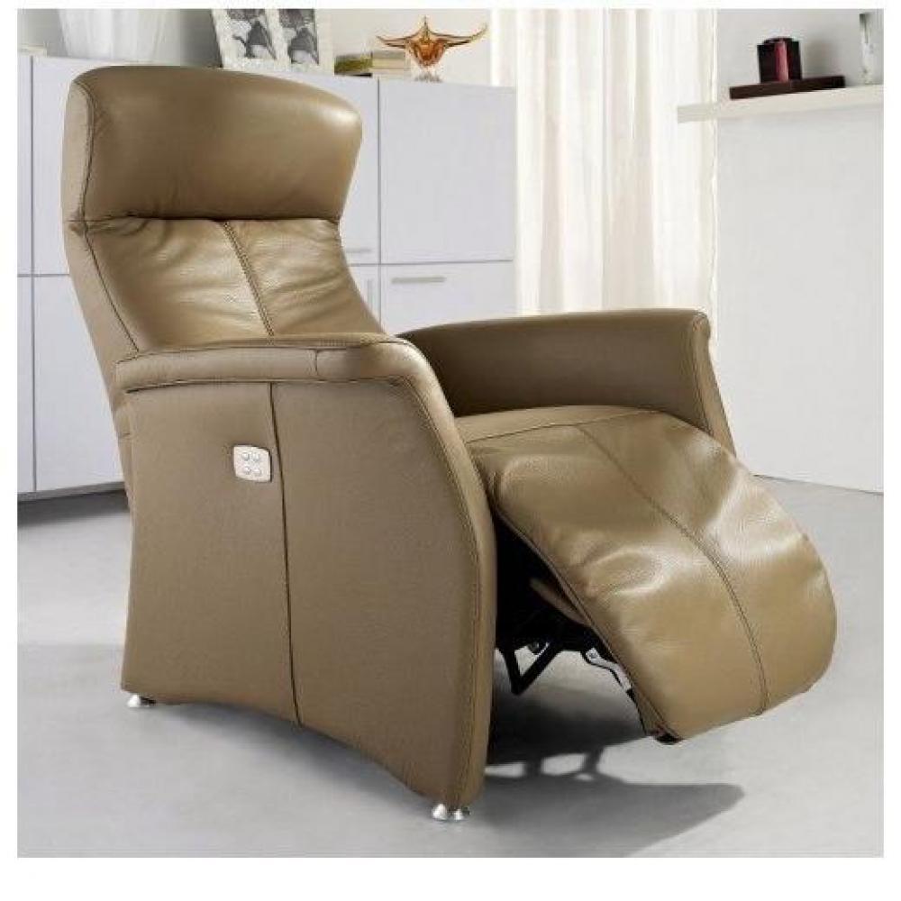 KINGSTON fauteuil relax électrique (bi-moteur) cuir vachette taupe