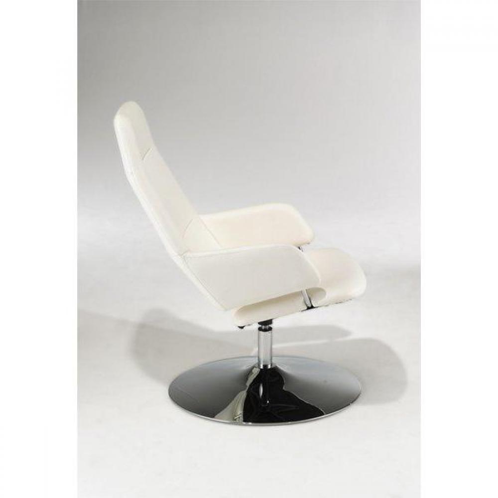 fauteuils relax canap s et convertibles fauteuil relax avec pouf ottoman en cuir blanc inside75. Black Bedroom Furniture Sets. Home Design Ideas