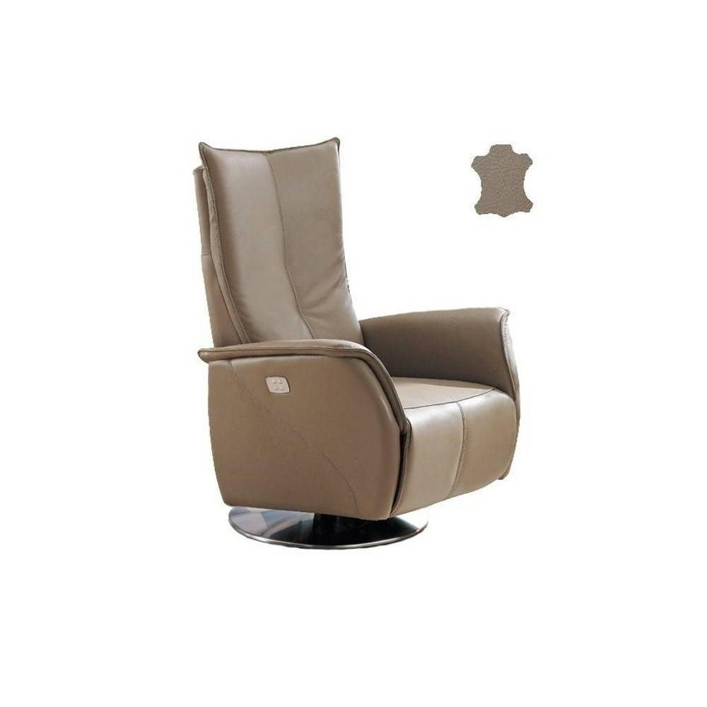 PREMIUM fauteuil relax électrique (bi-moteur) cuir vachette taupe