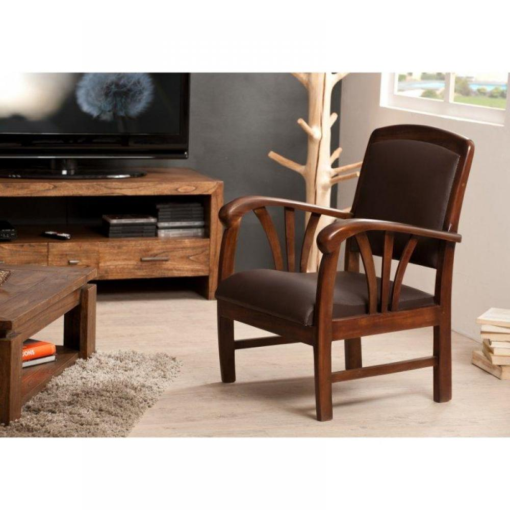 fauteuils design canap s et convertibles fauteuil dak en vinyl marron style colonial. Black Bedroom Furniture Sets. Home Design Ideas