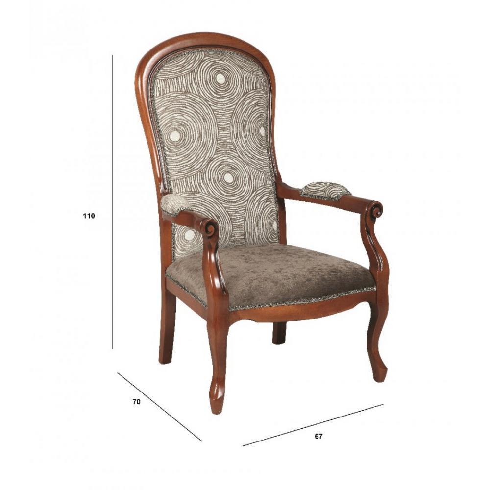 fauteuils design canap s et convertibles fauteuil voltaire en h tre et tissu motifs rond. Black Bedroom Furniture Sets. Home Design Ideas