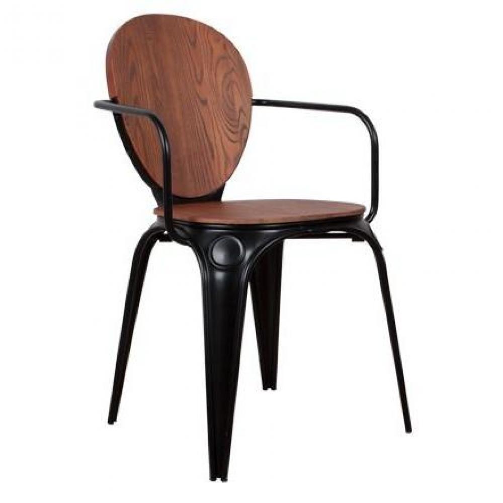 Chaises tables et chaises zuiver chaise avec accoudoirs louix noire inside75 for Chaise zuiver