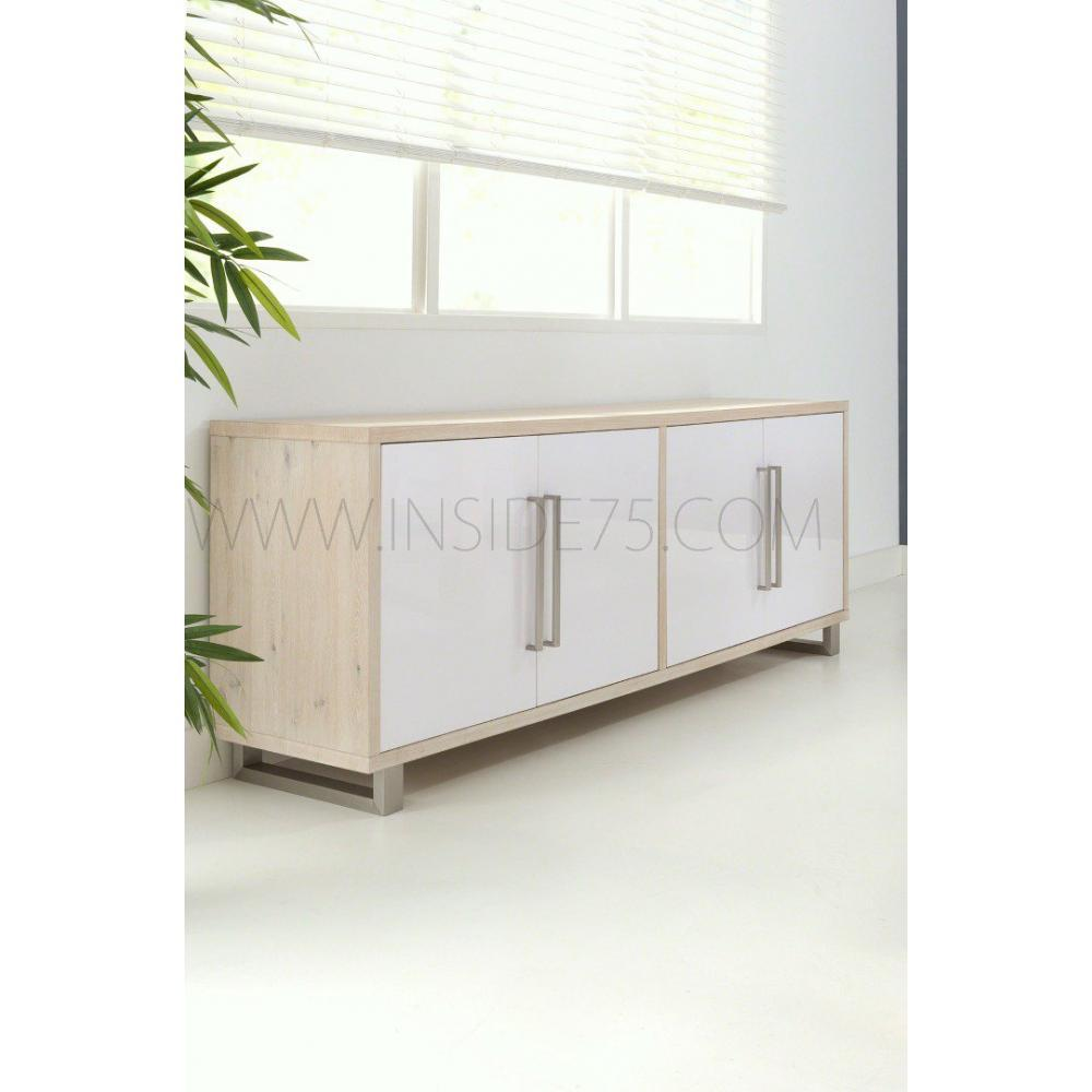 buffets meubles et rangements flora buffet en bois laqu blanc brillant avec portes inside75. Black Bedroom Furniture Sets. Home Design Ideas