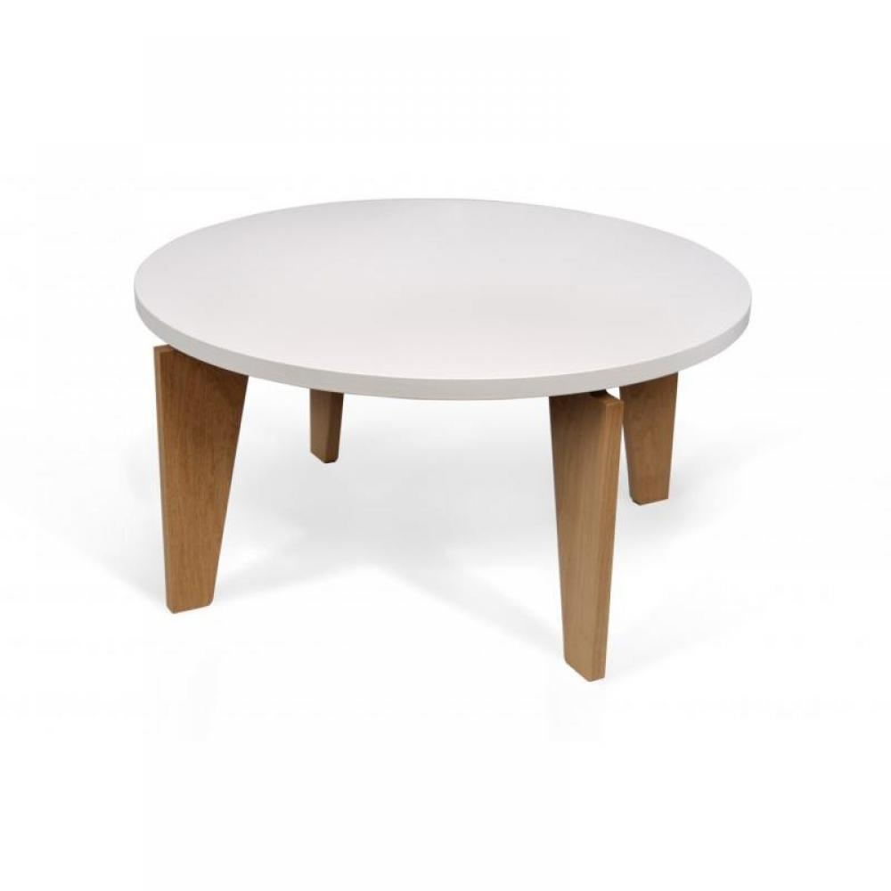 Table basse bois ronde design for Table ronde blanc