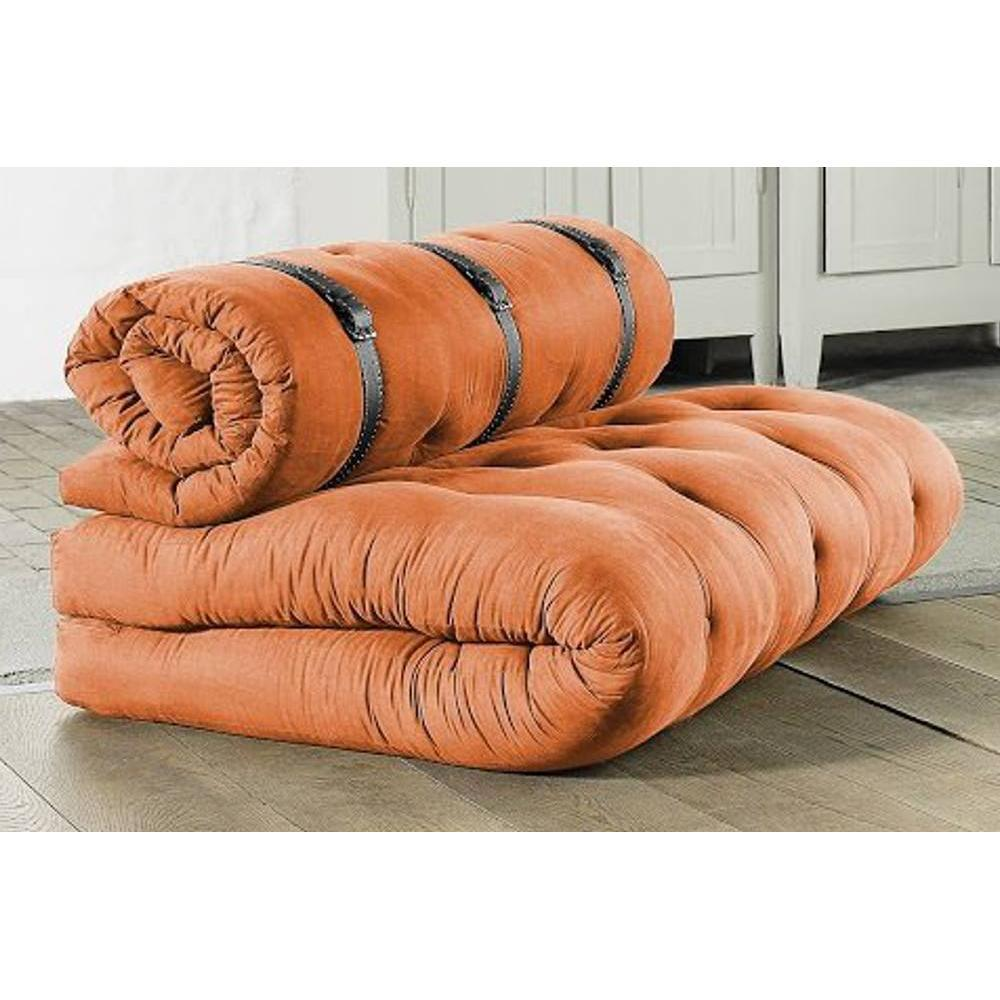 chauffeuses futon fauteuils et poufs chauffeuse 2 places buckle up futon orange couchage 140. Black Bedroom Furniture Sets. Home Design Ideas