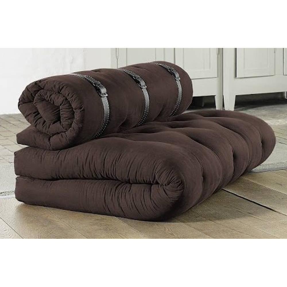 chauffeuses futon fauteuils et poufs chauffeuse 2 places buckle up futon marron couchage 140. Black Bedroom Furniture Sets. Home Design Ideas