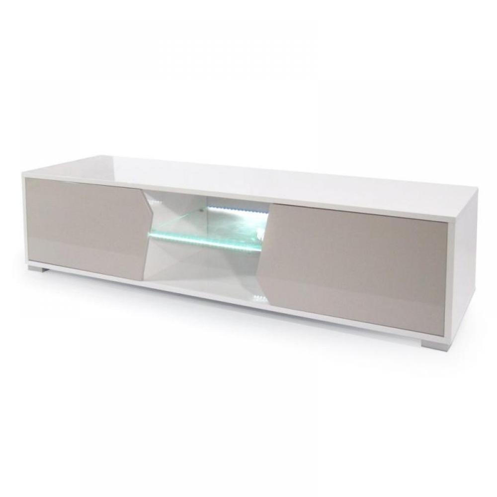 meubles tv meubles et rangements meuble tv design hazardo laqu blanc et taupe brillant inside75. Black Bedroom Furniture Sets. Home Design Ideas