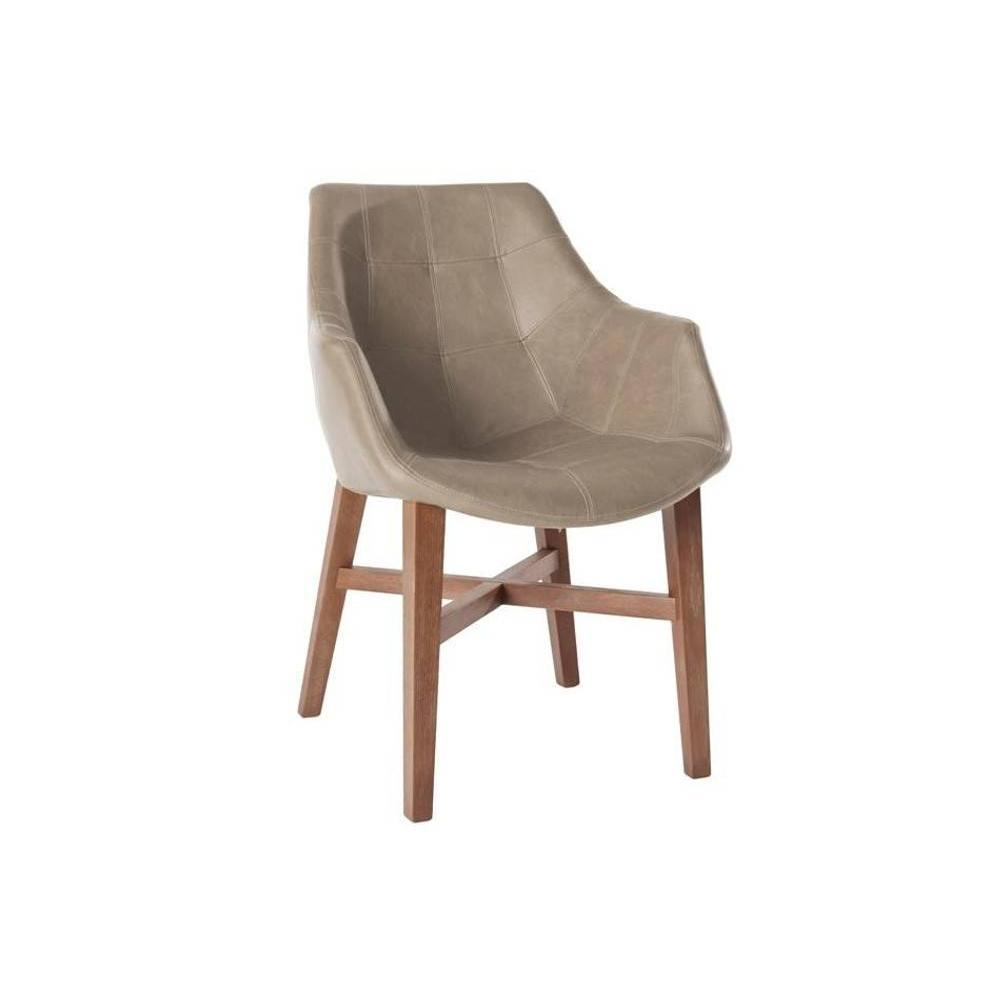 Chaise en cuir beige maison design for Chaise cuir bois