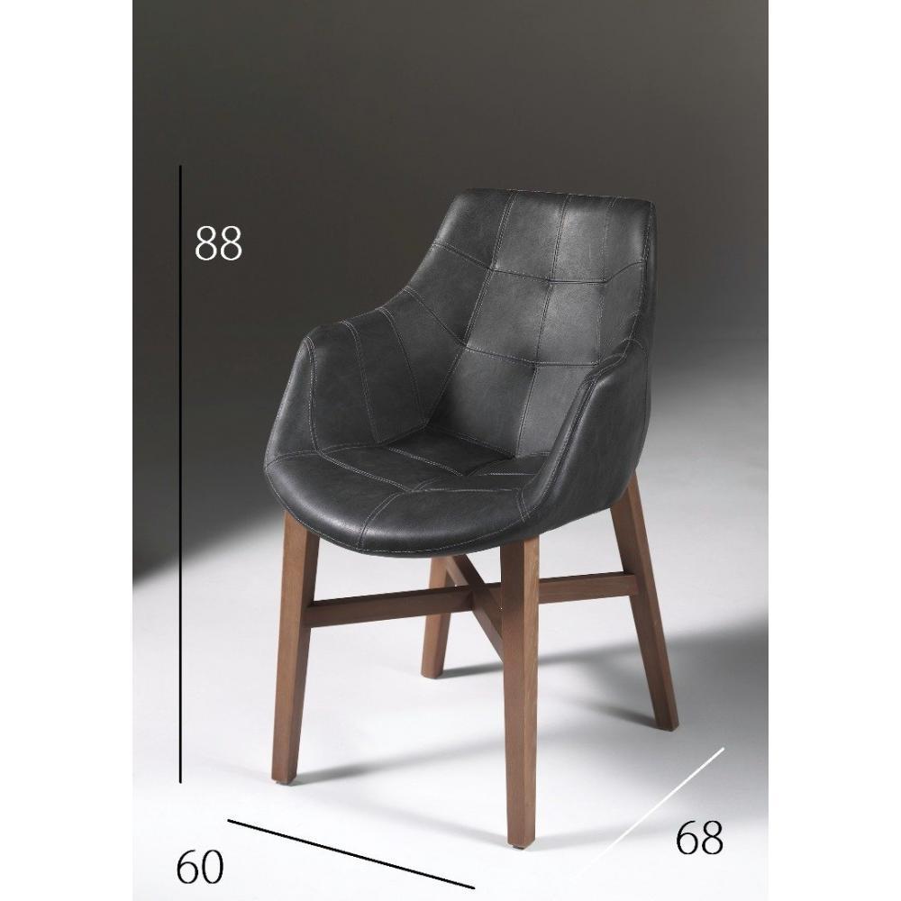 chaises avec accoudoirs tables et chaises chaise design hermes noire en bois massif inside75. Black Bedroom Furniture Sets. Home Design Ideas