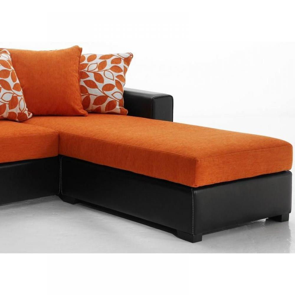 canap s fixes canap s et convertibles canap d 39 angle r versible kennett tweed orange et cuir. Black Bedroom Furniture Sets. Home Design Ideas