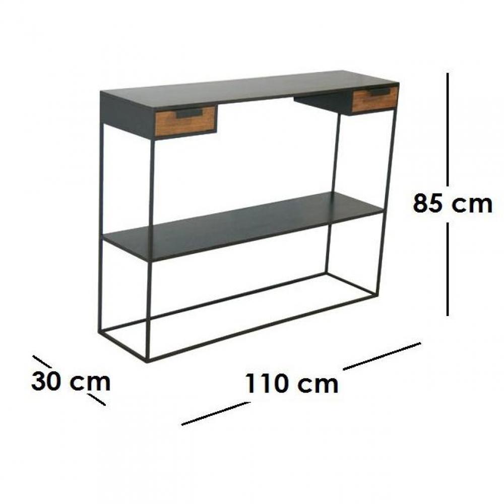 consoles meubles et rangements kwadrat console en acier et ch ne avec 2 tiroirs fabrication. Black Bedroom Furniture Sets. Home Design Ideas