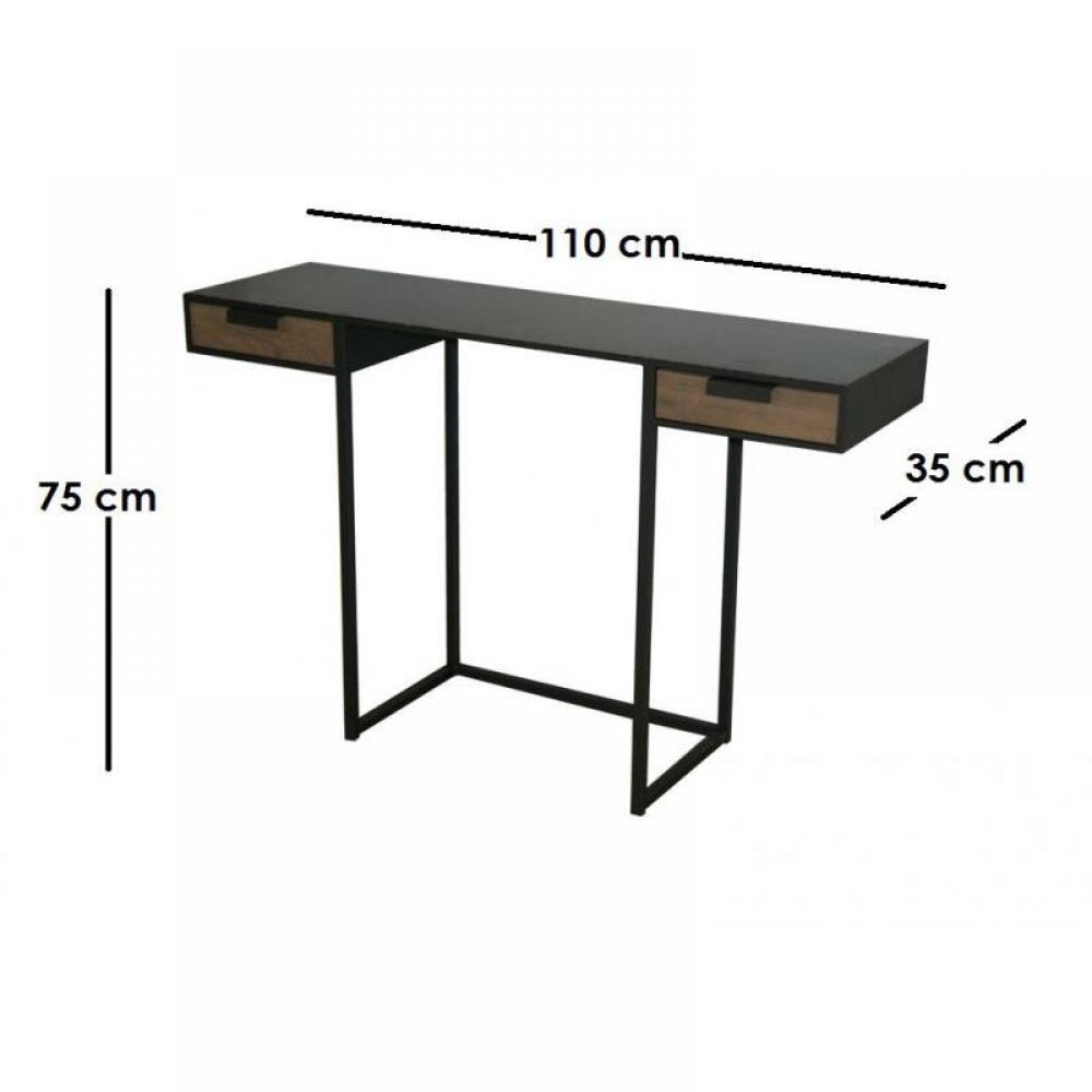 consoles meubles et rangements kwadrat console bureau en acier et ch ne avec 2 tiroirs. Black Bedroom Furniture Sets. Home Design Ideas