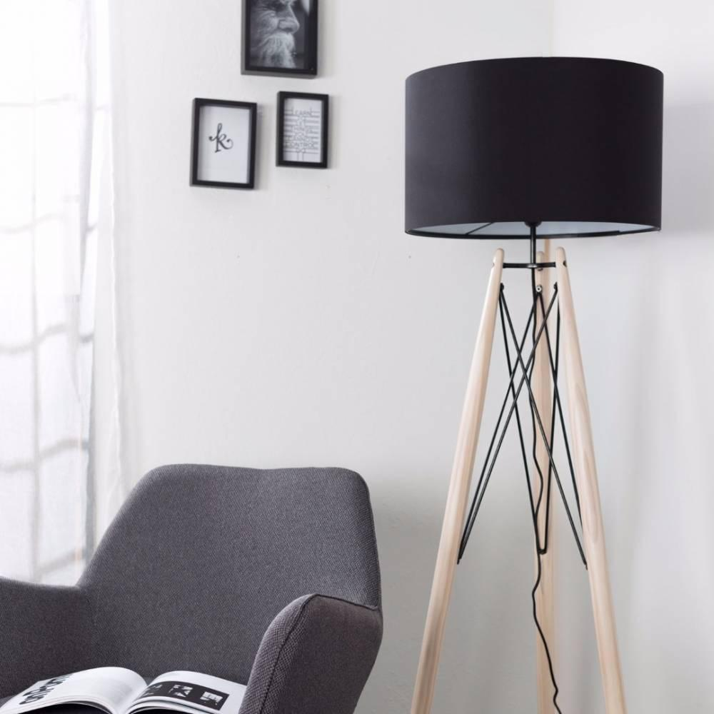 lampadaires luminaires lampadaire grid noir pi tement pin massif style scandinave inside75. Black Bedroom Furniture Sets. Home Design Ideas