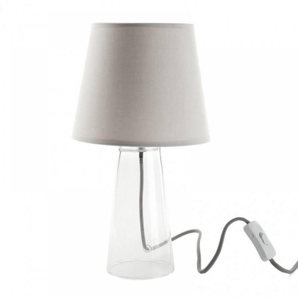 Luminaires luminaires lampe lucie design taupe clair for Lampe a poser pied en verre