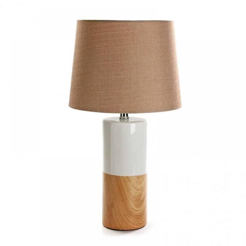 Lampe à poser SALVATORE en céramique blanc et bois finition chêne naturel