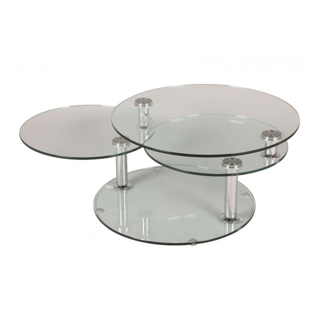 Table basse en verre modulable for Table basse ronde verre