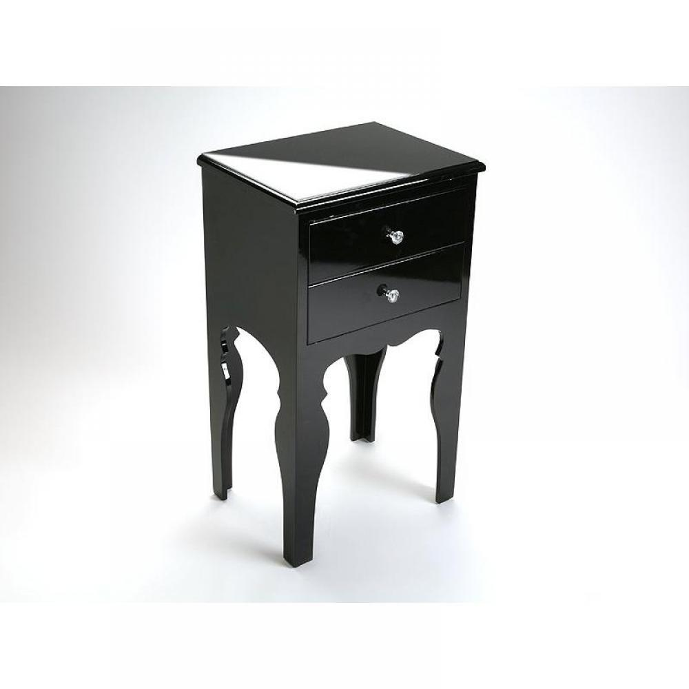commodes meubles et rangements lili commode bois 2 tiroirs laque noire brillante inside75. Black Bedroom Furniture Sets. Home Design Ideas