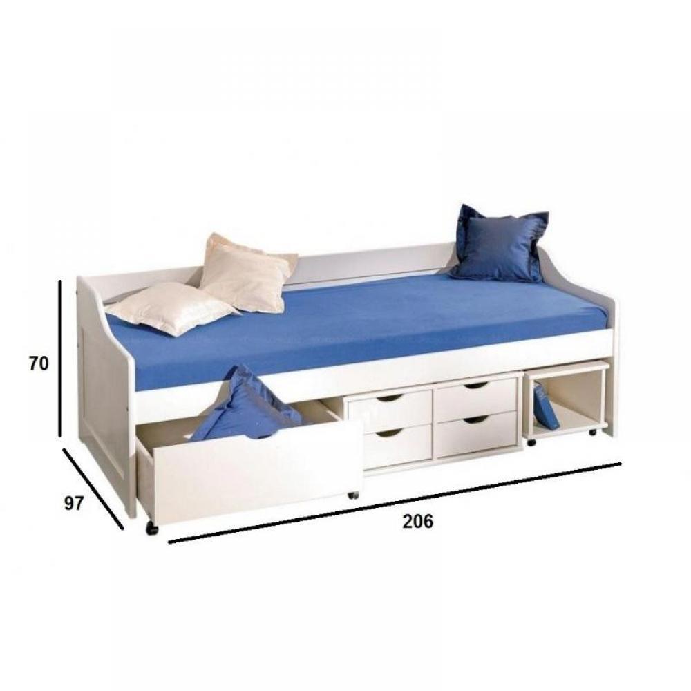 lit banquette floro multi rangements en pin massif blanc couchage 90 x 200 cm ebay. Black Bedroom Furniture Sets. Home Design Ideas