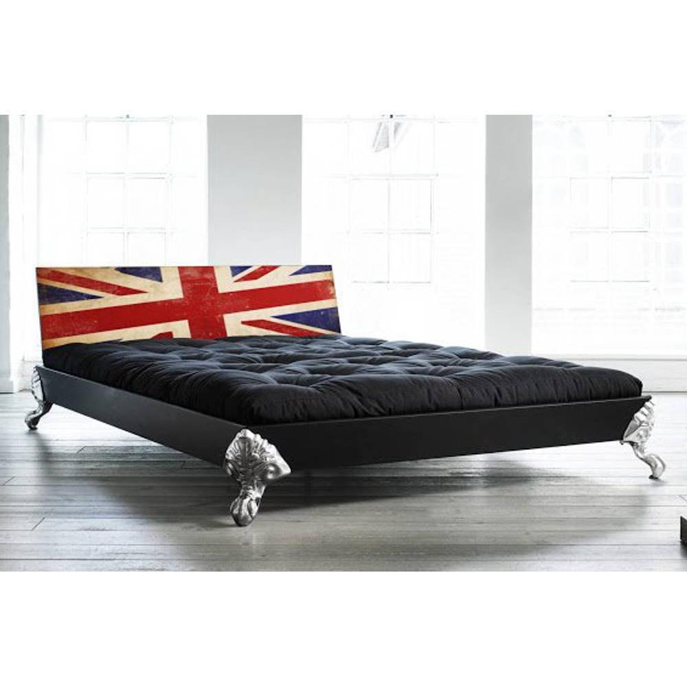 lits chambre literie lit eagle bed avec t te de lit imprim e london inside75. Black Bedroom Furniture Sets. Home Design Ideas
