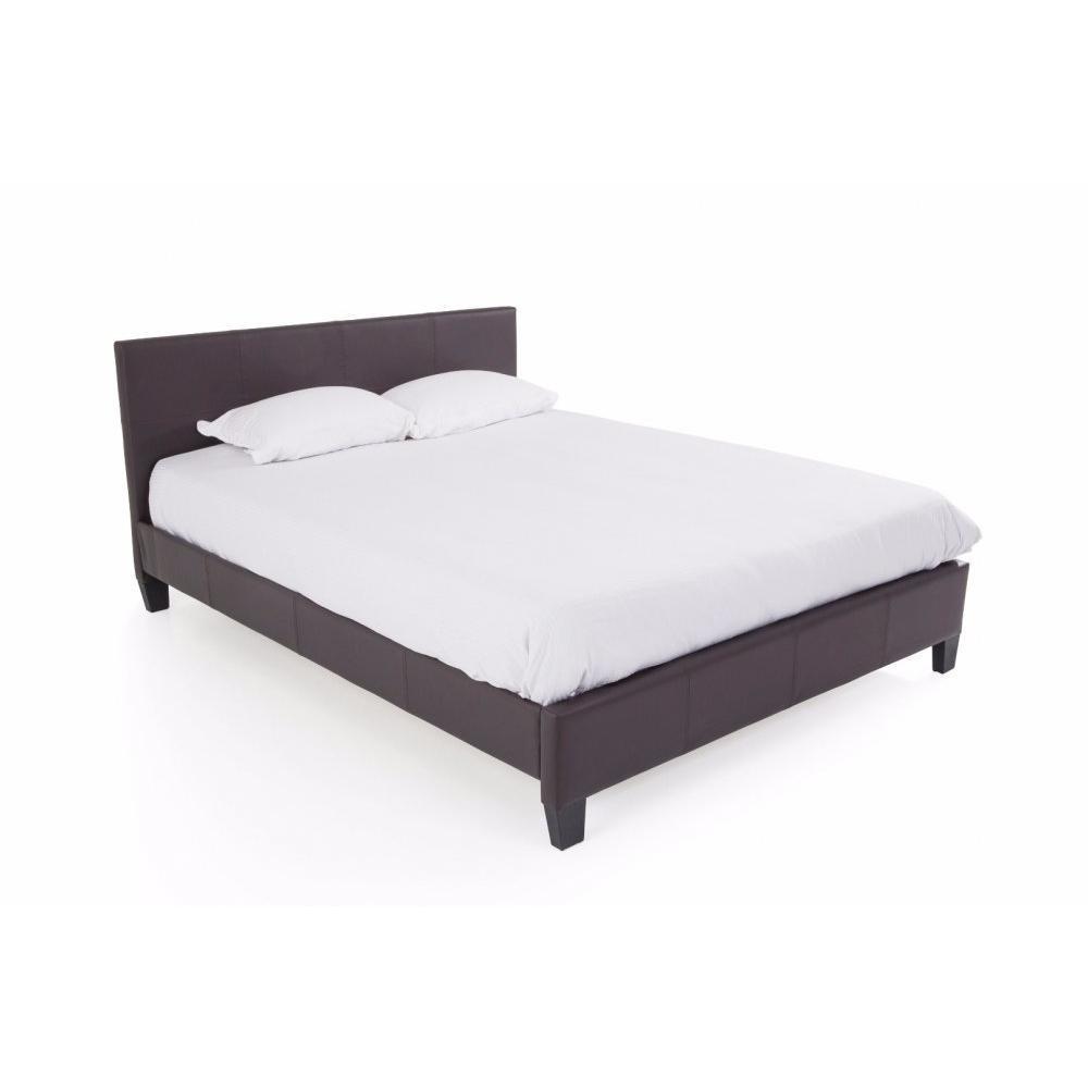 lits chambre literie lit design boby similicuir marron couchage 140 190 cm inside75. Black Bedroom Furniture Sets. Home Design Ideas