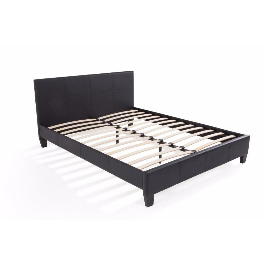 lits chambre literie lit design boby similicuir noir couchage 160 200 cm inside75. Black Bedroom Furniture Sets. Home Design Ideas