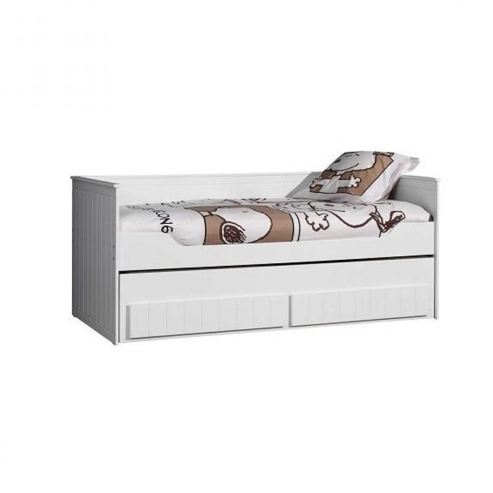 lits gigognes chambre literie lit gigogne robin design blanc inside75. Black Bedroom Furniture Sets. Home Design Ideas