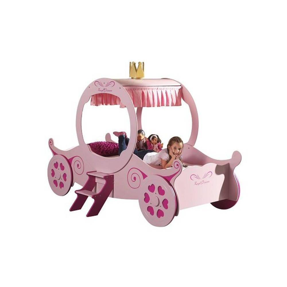 Lits chambre literie lit carrosse berline rose design princess insi - Lit princesse carrosse ...