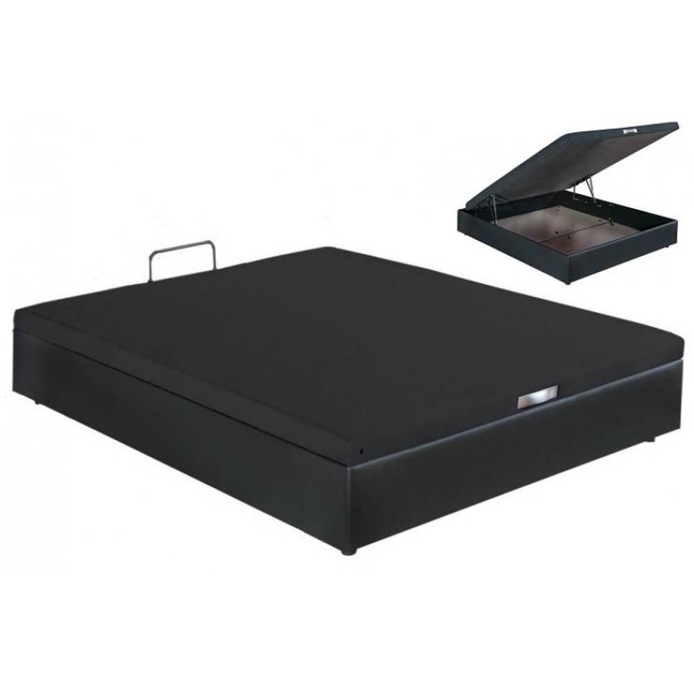 sommiers bultex chambre literie sommier coffre bultex quartz aspect simili cuir noir 160 200cm. Black Bedroom Furniture Sets. Home Design Ideas