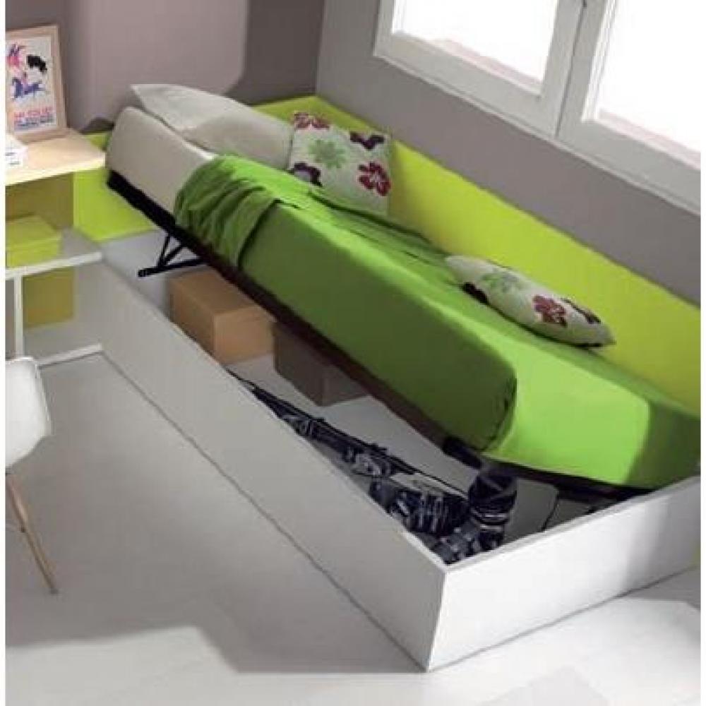 Lits coffres chambre literie sommier coffre relevable belladona 90 x 190cm inside75 - Coffre chambre ...