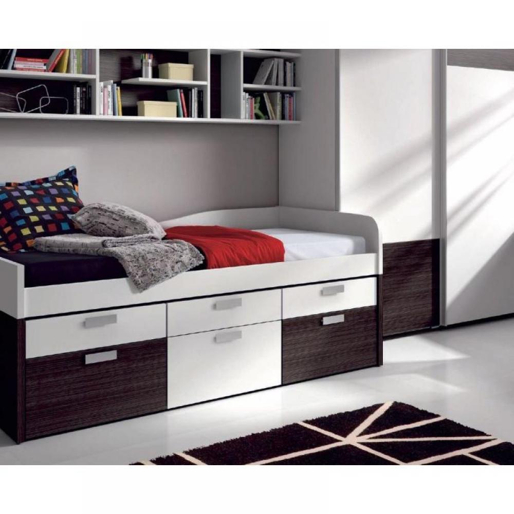 Lits chambre literie lit compact iris avec 6 tiroirs couchage 90 x 19 - Lit avec tiroir couchage ...