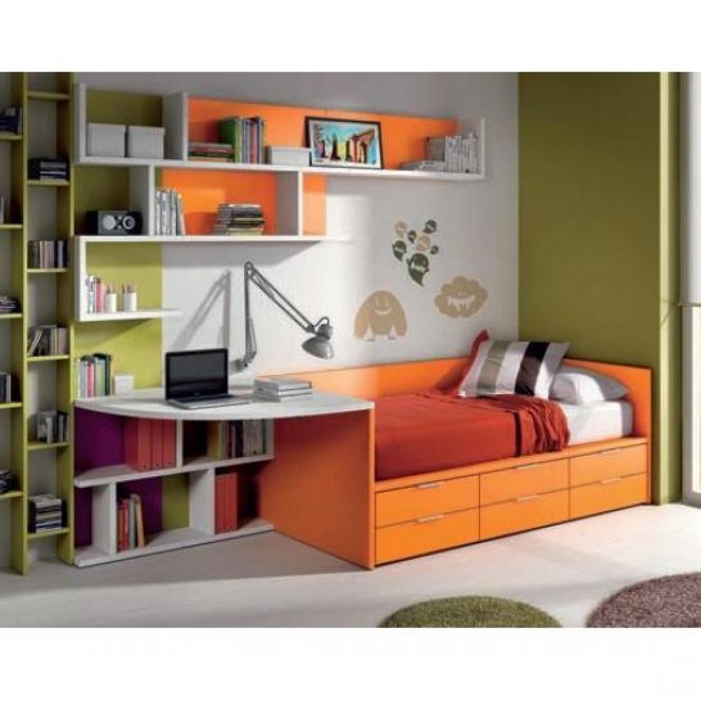 Lits chambre literie lit compact belladone avec 6 tiroirs couchage 90 - Lit avec tiroir couchage ...
