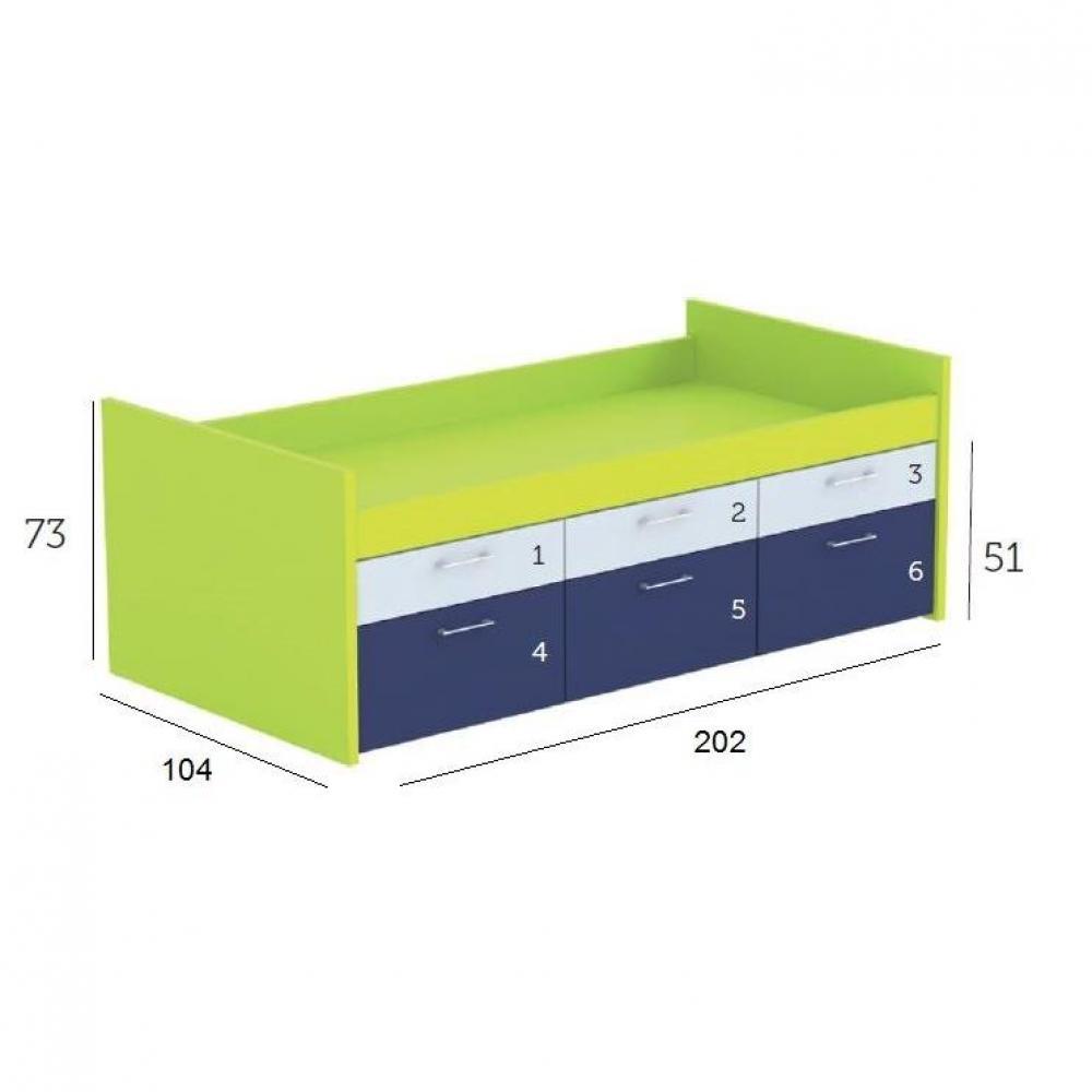 Lits chambre literie lit compact millo avec 6 tiroirs couchage 90 x 1 - Lit avec tiroir couchage ...
