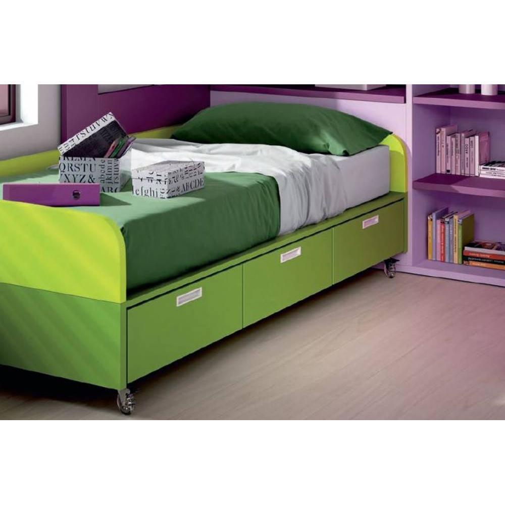 lits enfant chambre literie lit compact renzzo roulettes avec 3 tiroirs couchage 90 x 190. Black Bedroom Furniture Sets. Home Design Ideas