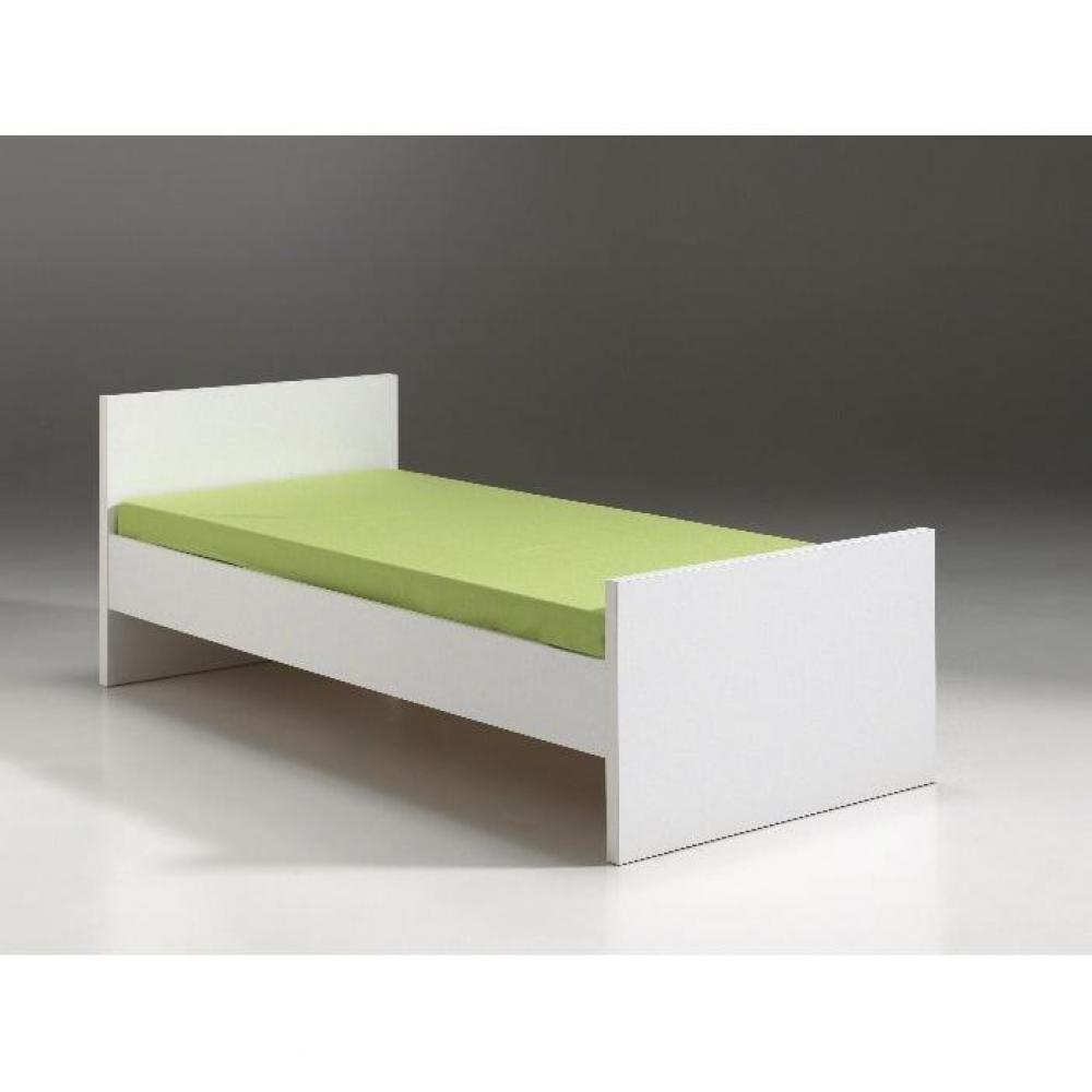 Lits enfant chambre literie lit simple nixon design blanc inside75 - Lit enfant simple ...