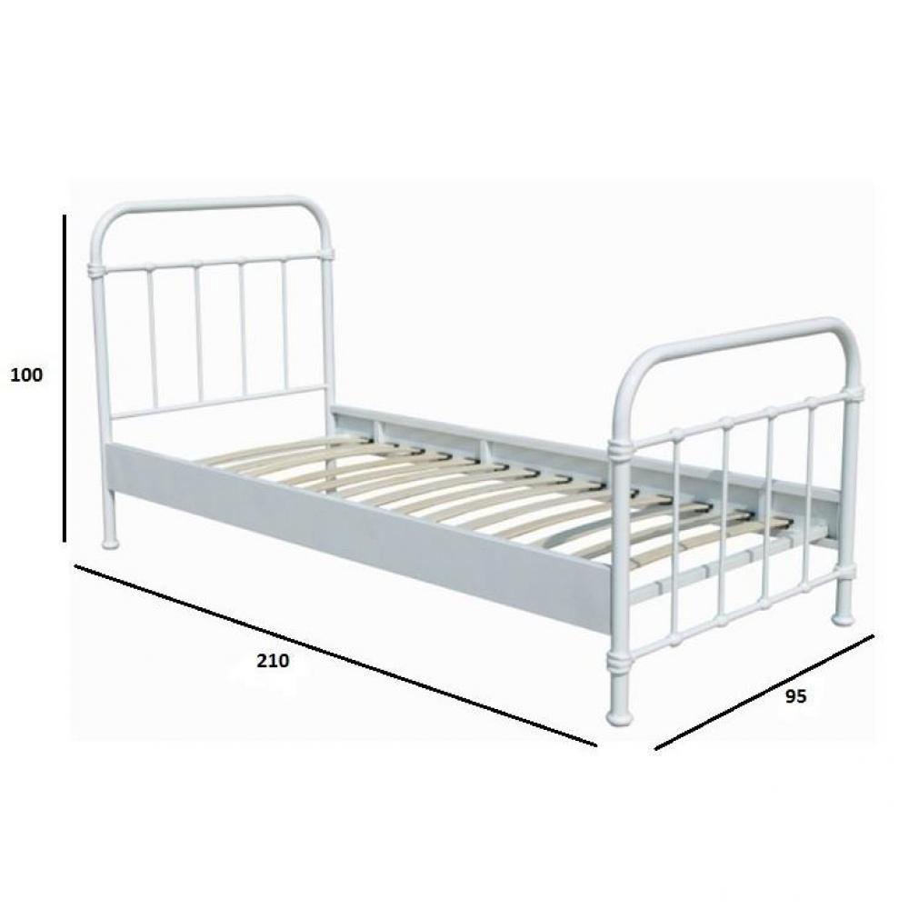 lits chambre literie lit simple eni acier blanc couchage 90 x 200 inside75. Black Bedroom Furniture Sets. Home Design Ideas