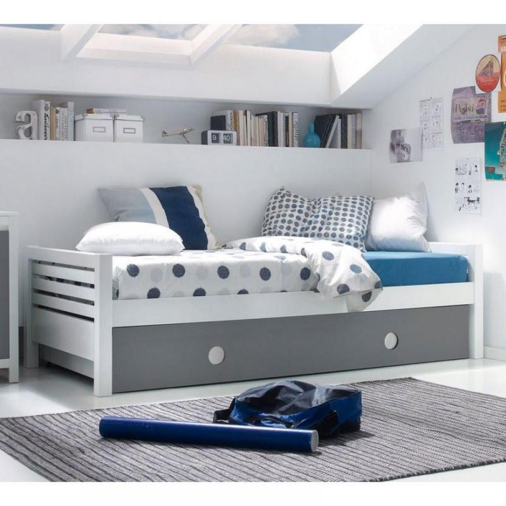 lits gigognes chambre literie lit gigogne carlin blanc. Black Bedroom Furniture Sets. Home Design Ideas