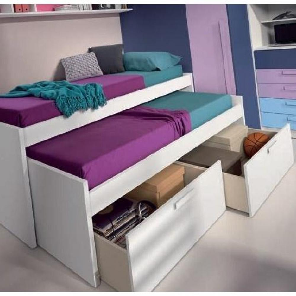 lits chambre literie lit gigogne loopy avec 2 tiroirs. Black Bedroom Furniture Sets. Home Design Ideas