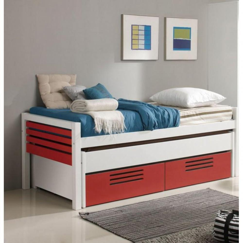 lits gigognes chambre literie lit gigogne double marlone blanc et rouge avec 2 tiroirs. Black Bedroom Furniture Sets. Home Design Ideas